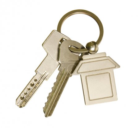 Photo for House keys and keychain on white background - Royalty Free Image