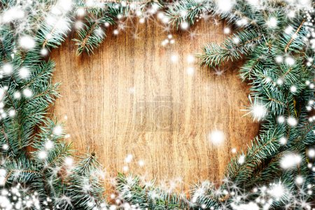 Photo for Christmas fir tree on a wooden board. Christmas green framework - Royalty Free Image