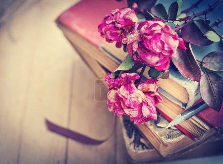 Photo pour Gros plan de roses, crayon et livre - image libre de droit