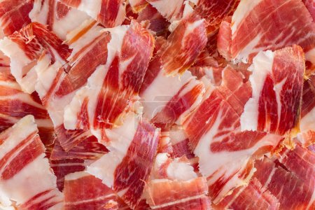 Photo for Top view of jabugo ham slices, closeup view - Royalty Free Image