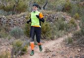 Hard marathon mountain race descent