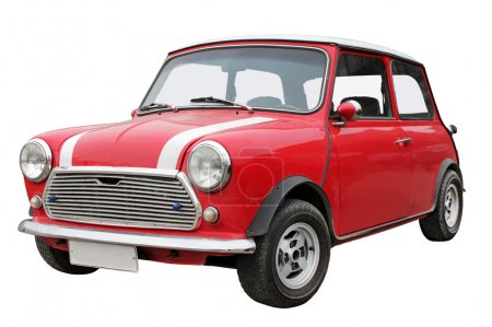 Photo for Old small red car isolated on a white background. - Royalty Free Image