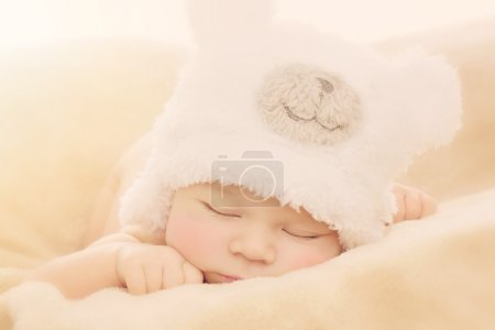 Newborn baby in bear hat