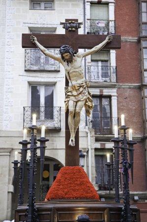 Photo pour Christ sur la Croix, le détail de la sculpture de Jésus christ, la tradition de Pâques en Espagne, croyance et foi - image libre de droit