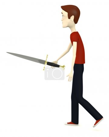 3d render of cartoon character with dagger