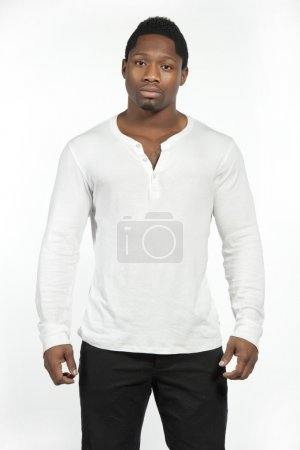 African American male model wearing a white casual t-shirt