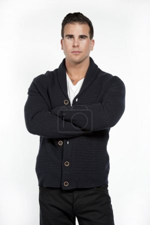 White Athletic Male in Sweater on White
