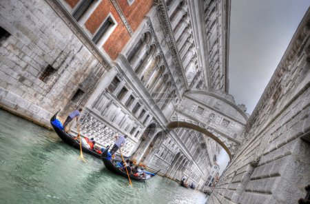 Doge's Palace and Canal with Gandolas, Venice, Italy (HDR)