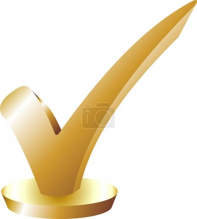 Illustration for Haken - Checkmark Gold - Royalty Free Image