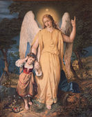 Slovensko - 4. prosince: anděl strážný s dítětem. typické katolické obraz tisku z počátku 20. století ve farní budově marianka 4 prosince 2012 na Slovensku