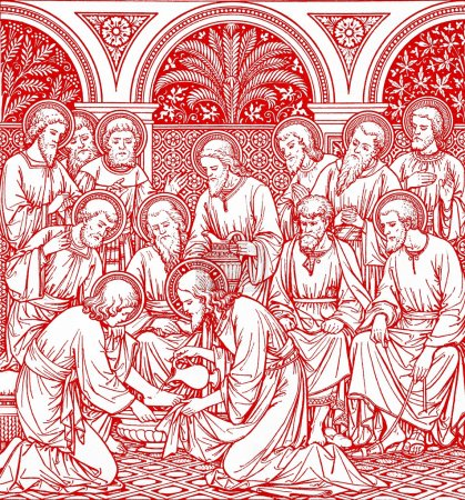 Washing of the feet in red - old catholic liturgy book