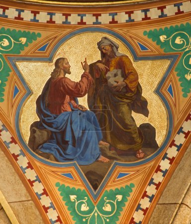 VIENNA - JULY 27: Fresco of Temptation of Jesus scene in side nave of Altlerchenfelder church from 19. cent. on July 27, 2013 Vienna.