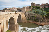 Toledo - Look to San Martin s bride or Puente de san Martin to Monastery of saint John of the King in morning light