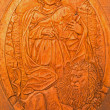 Постер, плакат: BRATISLAVA SLOVAKIA JANUARY 30 2014: Carved relief of Saint Mark as clannish patron from wine cellar of great Slovak producer