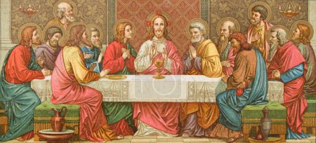 Last supper of Christ from old Missale Romanum from year 1924