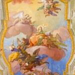 Постер, плакат: VIENNA AUSTRIA FEBRUARY 17 2014: Virgin Mary in heaven Fresco over presbytery on the ceiling of baroque st Annes church by Daniel Gran from year 1751