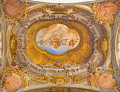 BOLOGNA, ITALY - MARCH 16, 2014: Ceiling fresco from Chapel of Rosary or Cappella del Rosario in baroque church San Domenico - Saint Dominic by Angelo Michele Colonna e Agostino Mitelli (1655-1657).