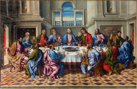 """VENICE, ITALY - MARCH 14, 2014: The Last supper of Christ """"Ultima cena"""" by Girolamo da Santacroce (1490 - 1556)  in church San Francesco della Vigna."""