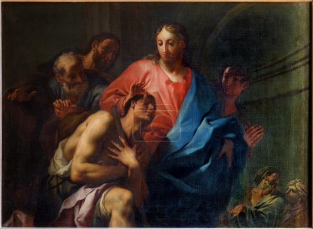 VENICE, ITALY - MARCH 14, 2014: The Miracle of Christ Healing the Blind by Antonio Trevisan (1753) in church San Francesco della Vigna.