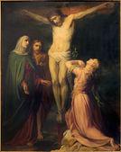 BRUSSELS, BELGIUM - JUNE 15, 2014: The Crucifixion paint by Jean Baptiste van Eycken (1809 - 1853) in Notre Dame de la Chapelle