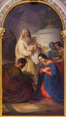 VENICE, ITALY - MARCH 12, 2014: Paint from side altar: The Presentation in the Temple (San Simeone mostra Jesu) by Antonio Ermolao Paoletti (1833 - 1913) in Basilica di san Giovanni e Paolo church.