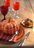 Table setting for Thanksgiving Day