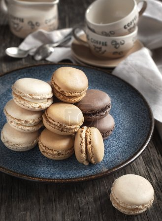 Photo for French macaroons. Coffee, chocolate and vanilla macarons - Royalty Free Image