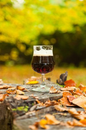 Glass of dark bock beer standing on tree trunk in autumn forest.