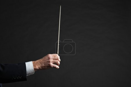 Hand of conductor in action.