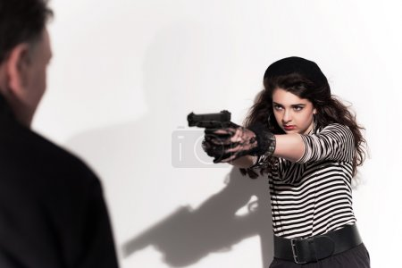 Bold eighties fashion girl in black and white. Shooting on man.