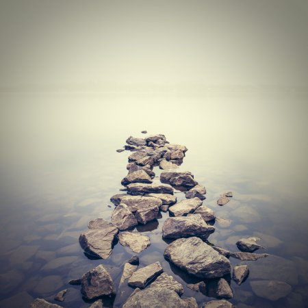 Photo for Minimalist misty landscape. Ukraine. - Royalty Free Image