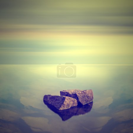 Foto de Paisaje marino minimalista. amanecer costero. - Imagen libre de derechos