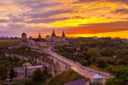 Evening City. Historic District Kamyanets-Podolsky City. Ukraine