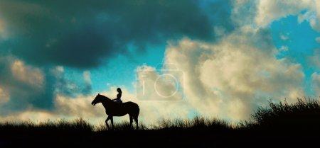 Horseback rider over blue sky on a mount