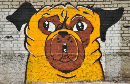Photo pour Graffiti sur les murs des dessins différents ville - image libre de droit