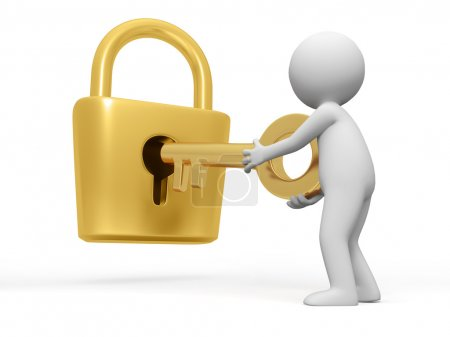 Photo for A open a lock with a key - Royalty Free Image