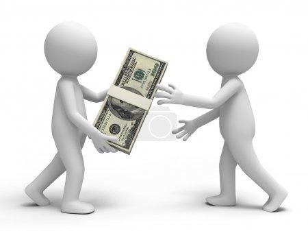 Photo pour Une personne qui donne un paquet de dollars à un autre - image libre de droit