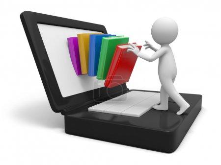 Photo pour Une personne 3d mettant une pile de livres dans l'ordinateur - image libre de droit