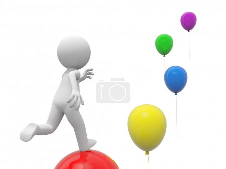 Photo for A 3d person running along the balloons - Royalty Free Image