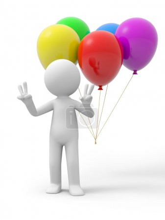 Photo for A 3d person making a V hand gestures, the balloons background - Royalty Free Image
