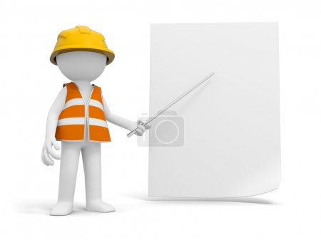 Photo for A 3d safety worker pointing at the paper with a stick - Royalty Free Image
