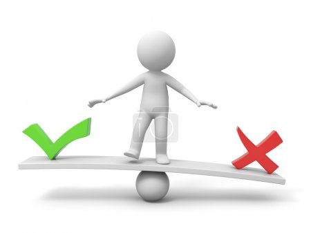 Photo for 3d people, person, man with symbol right and wrong on balance scale - Royalty Free Image