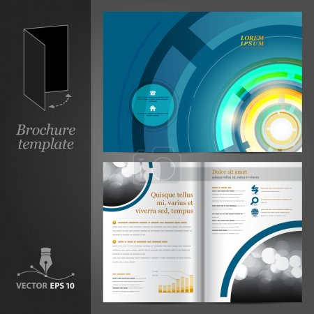 Illustration for Vector blue brochure template design with round elements. EPS 10 - Royalty Free Image