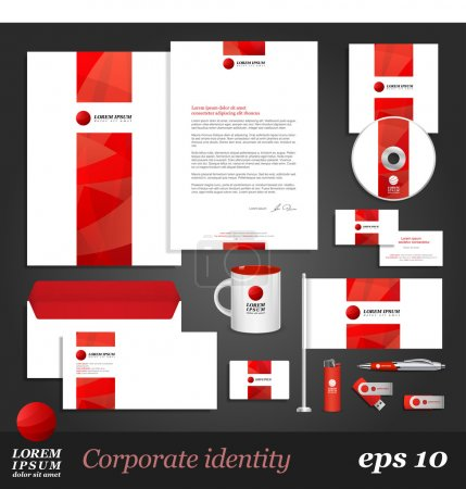 Corporate identity template with red elements