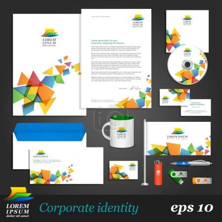 Illustration pour Modèle d'identité corporative blanc avec éléments de couleur sur fond. style de société vecteur vues de profil et de. - image libre de droit