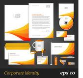 Corporate identity template with orange stripes