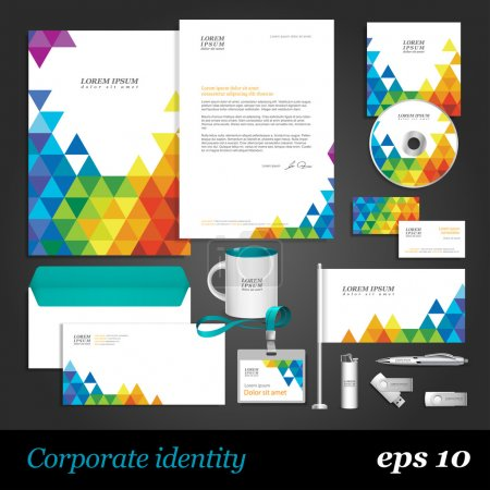 Illustration for Color corporate identity template with triangles. Vector company style for brandbook and guideline. - Royalty Free Image