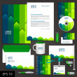 Green corporate identity template with color strip...