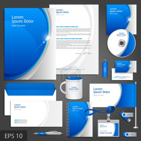 Blue corporate identity template