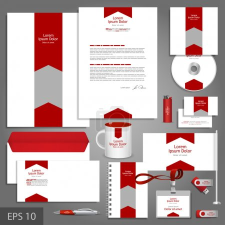 White corporate identity template with red arrow